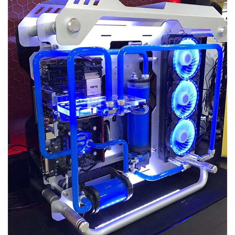 OEM MOD aluminum and double tempered glass Water cooling case <font><b>i7</b></font> <font><b>7700k</b></font> 8G/16GB 1T GX 1080 ATX DIY gaming Desktop PC image