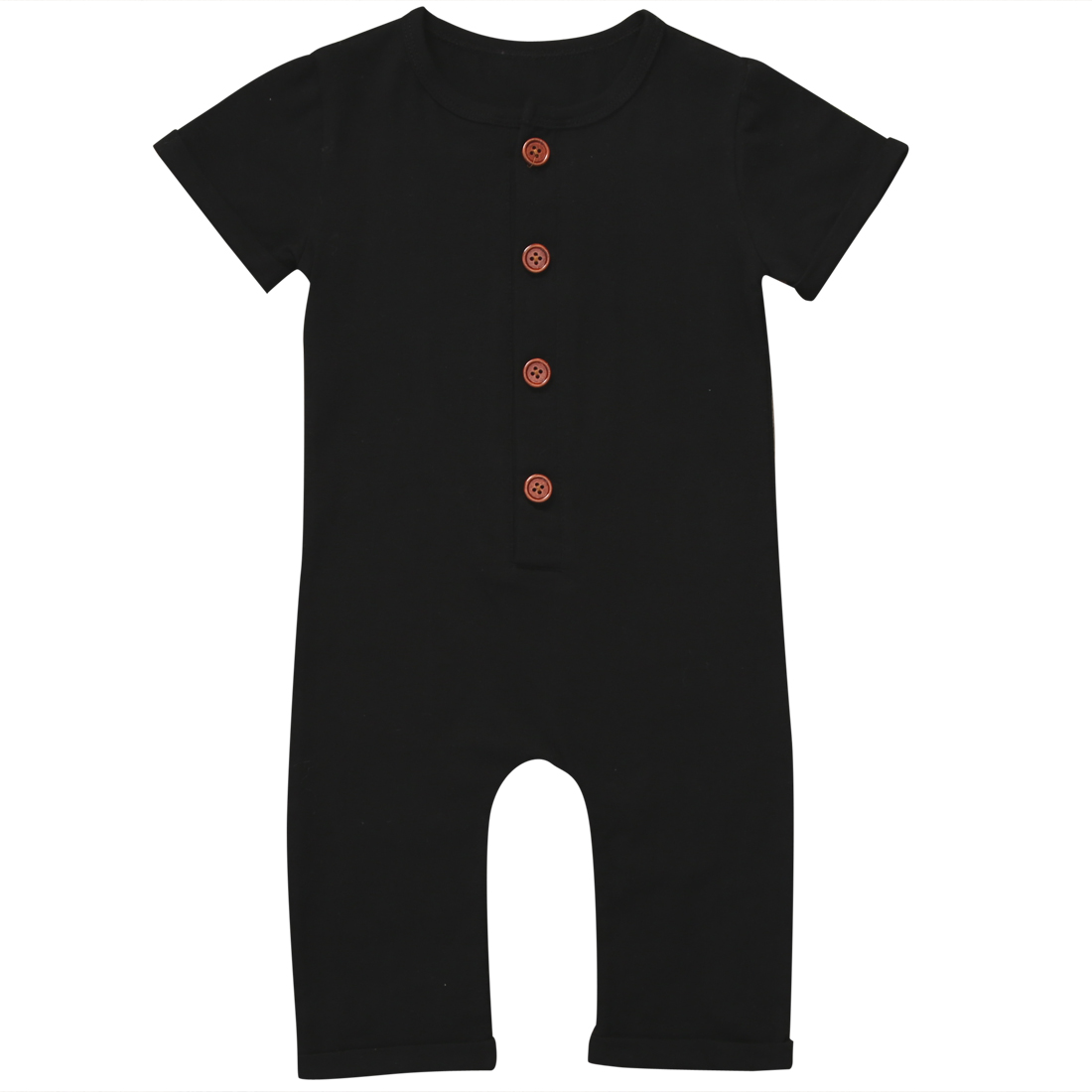Newborn Kids Baby Boy Girl Two Colors Solid Cotton Short Sleeve Button Romper Clothes 0-24M недорго, оригинальная цена