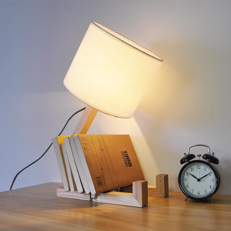 Nordice Modern Creative Gifts Foldable Robot Desk Table Lamps Wooden Base Table Lamp Bedside Reading Desk Lamp Home Decor Light Fixture (11)