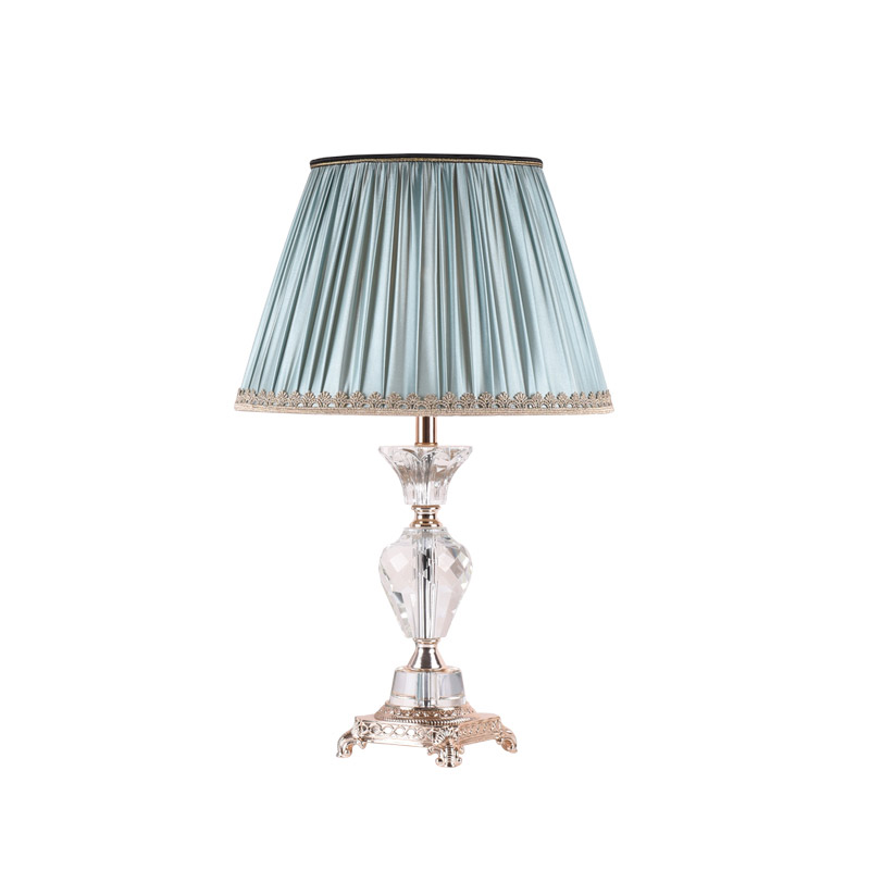 Modern Chrome Crystal Table Lamp Country Fabric Lampshade Living Room Bedroom Bedside Table