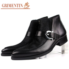 GRIMENTIN Italian elegant shoes men fashion botas winter luxury suede leather patchwork buckle elegant casual mens ankle boots