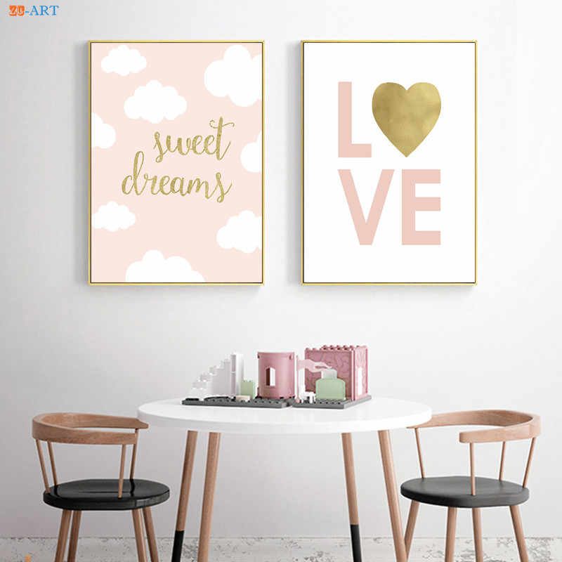 Pink Love Gold Foil Canvas Art Poster And Print Painting Nursery Wall Art  Kids Room Decor