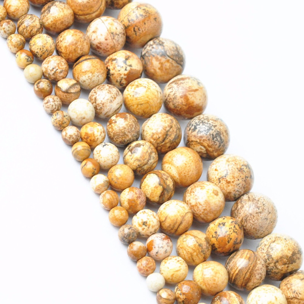 Semi-finished Round Light Brown Color Stone Beads 4/6/8/10/12mm For Bracelet Jewelry Making Accessories Berloque Christmas Gifts