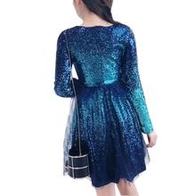 Sequin Mesh Mini Dress 2017 Autumn Sequin Mesh Dress evening party dress Fashion Women Sexy long  Sleeves Mini dress vestidos
