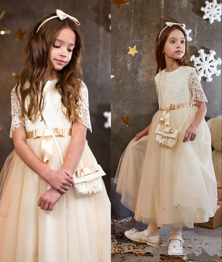 Cheap Tulle Lace Princess   Dress   with Belt Ankle Length Half Sleeves Customized   Flower     Girl     Dress   For Wedding Kids Prom   Dresses