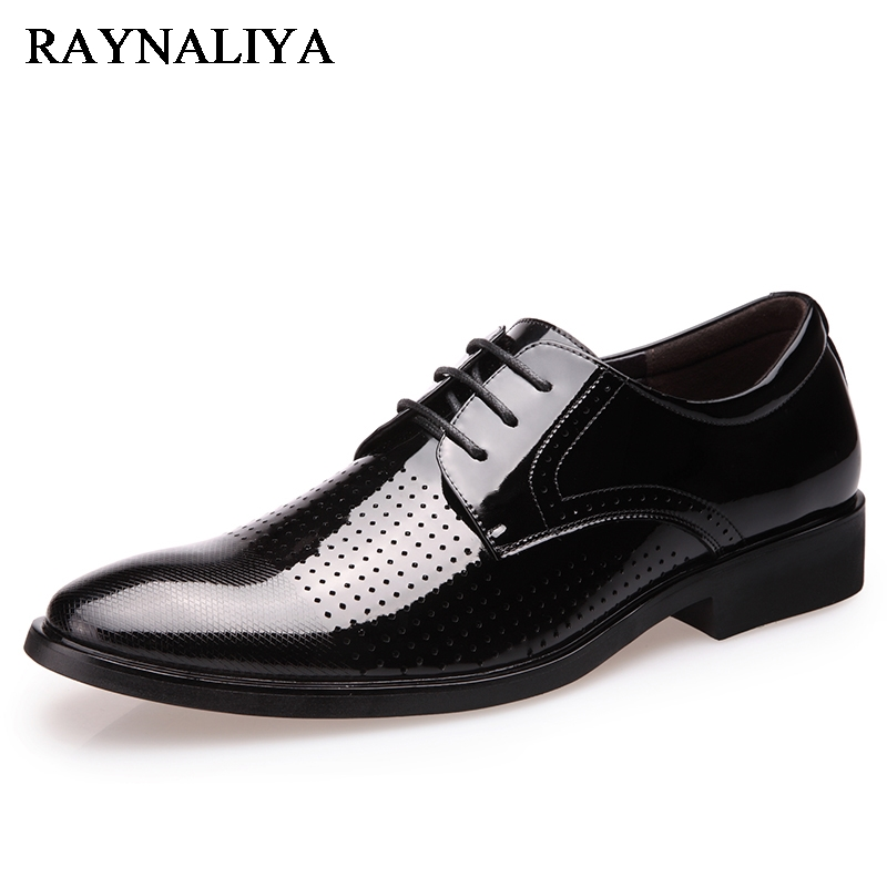 New Luxury Brand Mens Shoes Dress Sales Genuine Leather Black Fashion Formal Business Male Shoes Oxfords Shoes DO-0059 ...