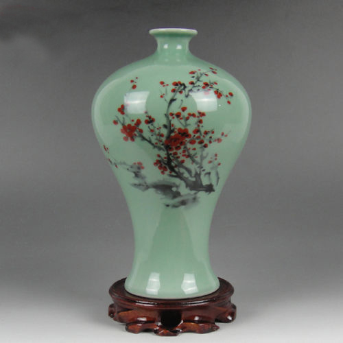 Aliexpress Buy Elaborate Celadon Vase Of Red Plum Made By