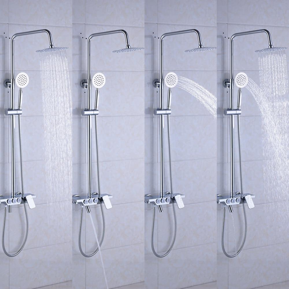 2018 New Bathroom Shower Faucet Mixers Single Handle Brass Chrome 12 ...