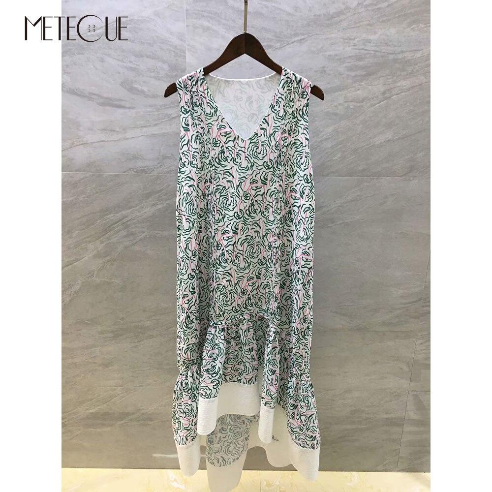 Kadın Giyim'ten Elbiseler'de Moda Baskılı Asimetrik Elbise 2019 Ilkbahar Yaz Moda V Boyun Soğuk Omuz Yaz Elbiseler 2019 Yaz'da  Grup 1