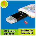 Telefone usb otg para iphone 6/5/ipad 2 mini1 3 4, apoio às micro cartão SD de 8 gb 16 gb 32 gb 64 gb de Memória Máxima de Expansão (Compra Adicional)