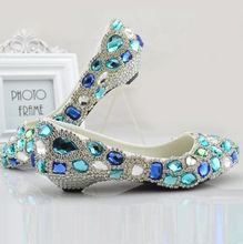 Luxury rhinestones full crystal blue stones wedding shoes for woman low small heel middle heeled point toe sexy dress shoe TG396