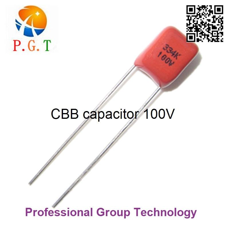 10pcs/lot 330NF 0.33UF 334J 1000NF 1UF 105J 100V P5MM 5MM Pitch DIP CBB Polypropylene Film Capacitor