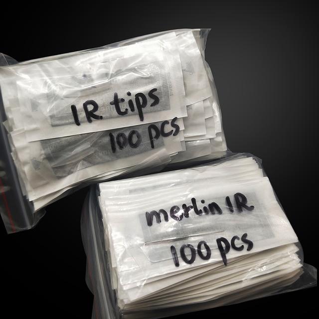 100 stücke 1R Merlin Tattoo Nadeln mit 100 stücke 1R Nadel Kappen Für Permanent Make Up Biotouch Merlin Maschine