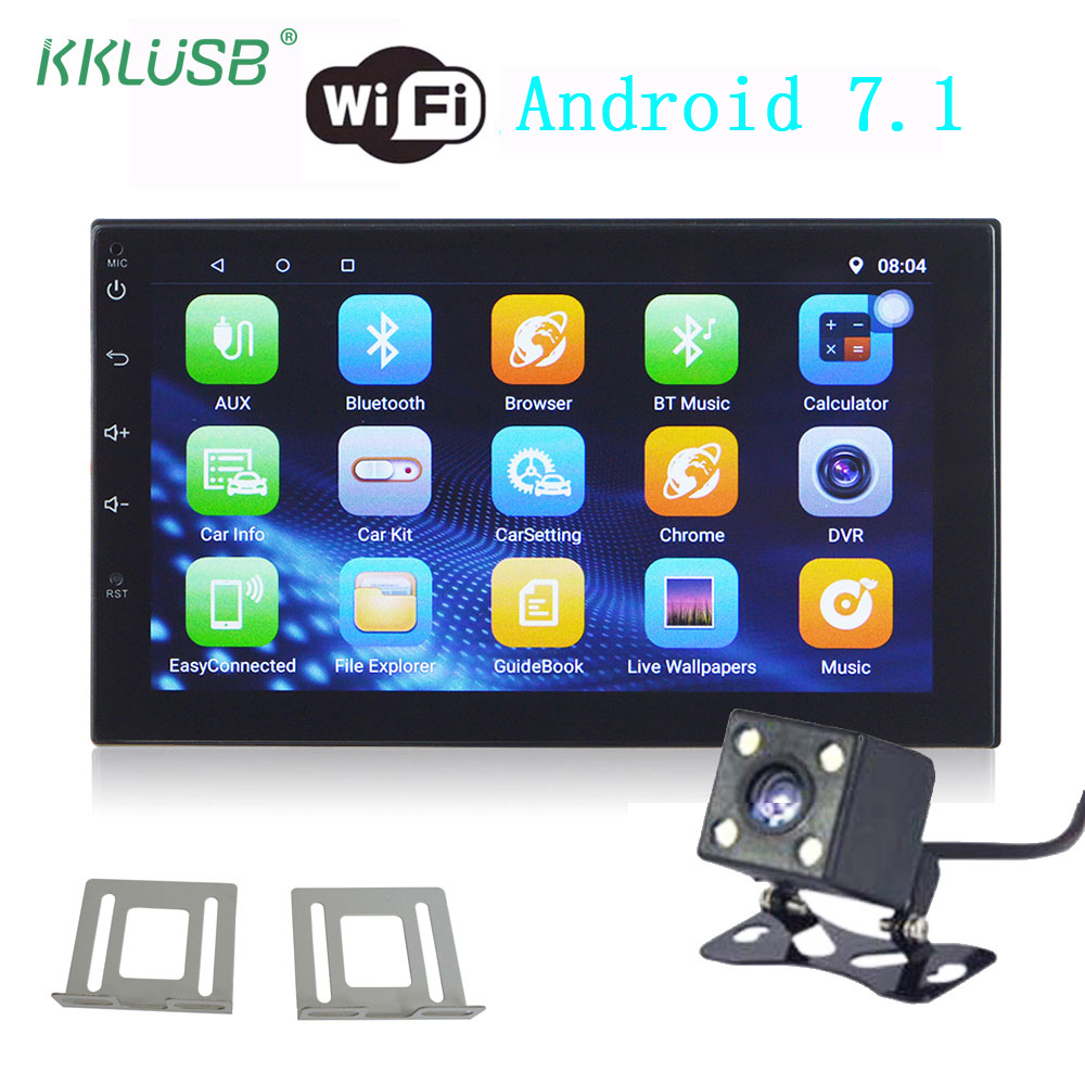 car radio android 7 1 universal 7 39 39 touch screen gps navigation 2 din mp5 player bluetooth wifi. Black Bedroom Furniture Sets. Home Design Ideas