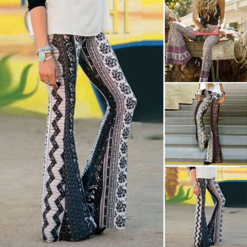 Women Fashion Casual Boho Floral Hippie High Waist Printed Wide Leg Long Full Length Flared Bell Bottom Pants