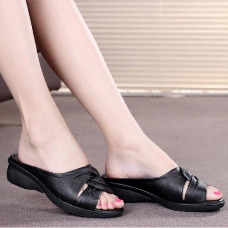 Nuevo Casual 2019 Zapatos Verano Mujeres Más Comodidad Las blanco Elegante rojo Moda Zapatillas Negro Genuino De El Cuero Cuñas Sandalias RRnqpYrwEx