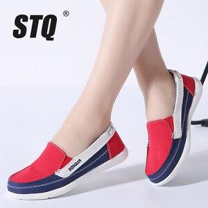Image 1 - STQ 2020 חורף נשים בד סניקרס לאישה להחליק על מוקסינים נעלי נשים דירות טניס נעלי גבירותיי שטוח להחליק על סניקרס 987
