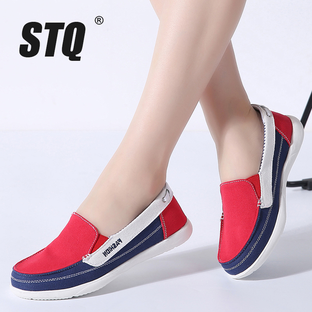 STQ 2020 חורף נשים בד סניקרס לאישה להחליק על מוקסינים נעלי נשים דירות טניס נעלי גבירותיי שטוח להחליק על סניקרס 987