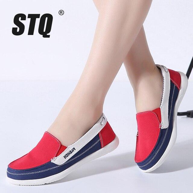 STQ Mùa Xuân 2019 vải bố nữ Sneakers Dành cho người phụ nữ trơn trượt trên cho Nữ Giày đế phẳng Giày tennis nữ phẳng trơn trượt trên giày thể thao 987