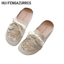 HUIFENGAZURRCS-Cowhide net surface hollowed-out semi-wrapped slippers female flat-soled sandals outdoor leisure