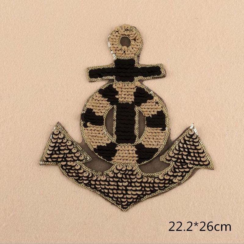 Dragons Anchor Crown Sequined Iron On Crest Patch