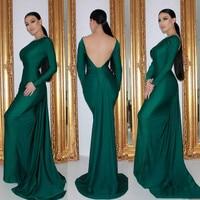 Seductive Hunter Green Long Sleeve Evening Dresses Backless Mermaid Evening Gowns Simple Prom Dress robe de soiree