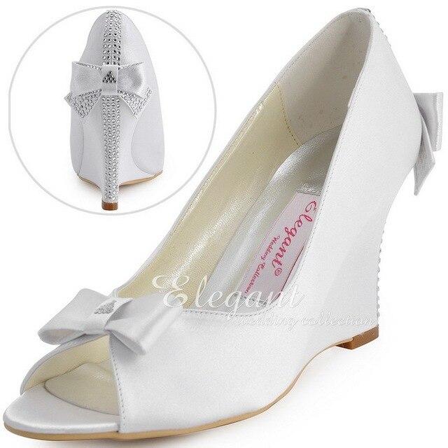 Elegantpark White Wedge Heels EP41020 Peep Toe Rhinestones