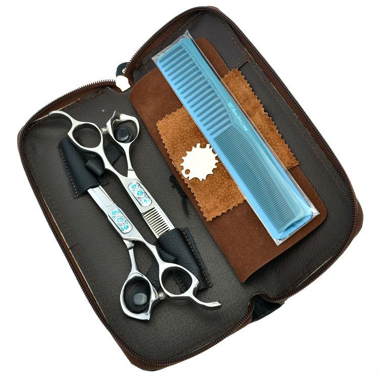 6.0 Professional Hair Scissors Set High Quality Cutting & Thinning Hair Shears Rhinestone Hairdressing Scissors, LZS0590 free ship 6 hair cutting scissors high quality professional sus440c hair styling tools