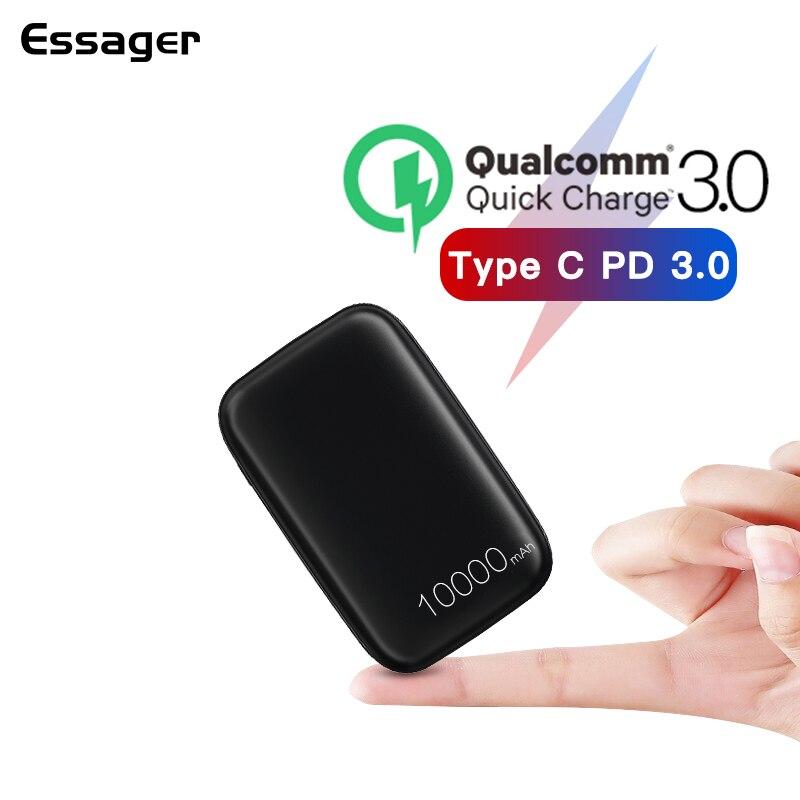 Essager Mini Banco Do Poder 10000mAh Carga Rápida 3.0 Para Powerbank Xiaomi Carregador Portátil de Bateria Externa USB Tipo C PD poverbank