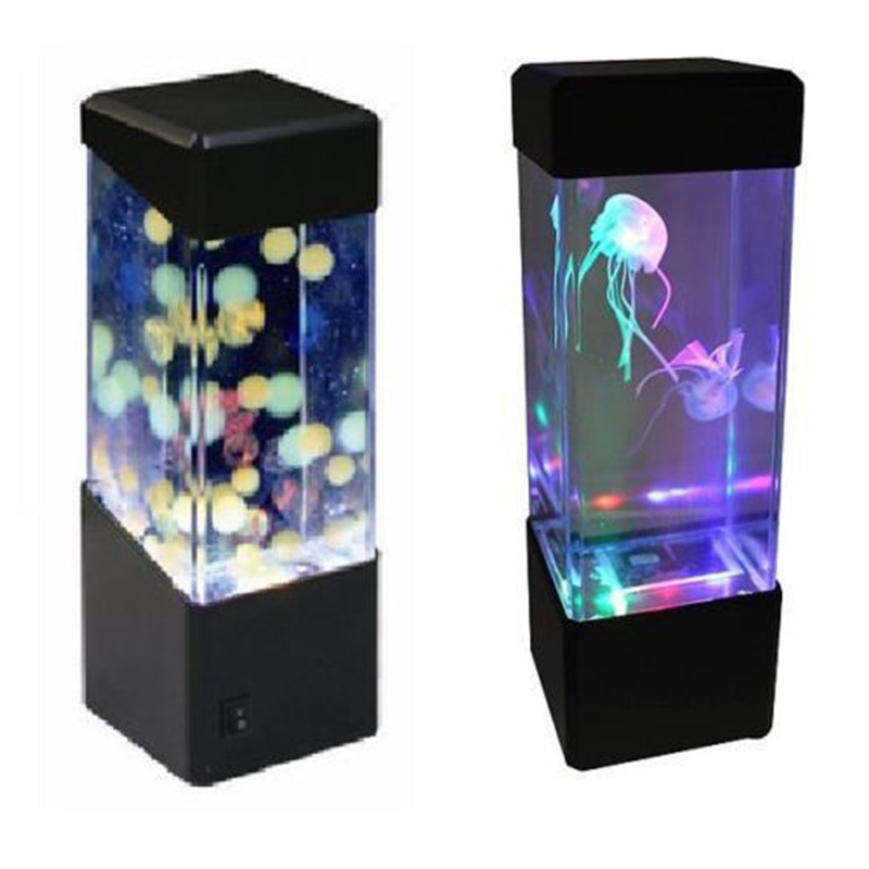 AKDSteel New LED Desktop Light Jellyfish Fish Aquarium Tank LED Light Relaxing Bedside Mood Night Light Lamp