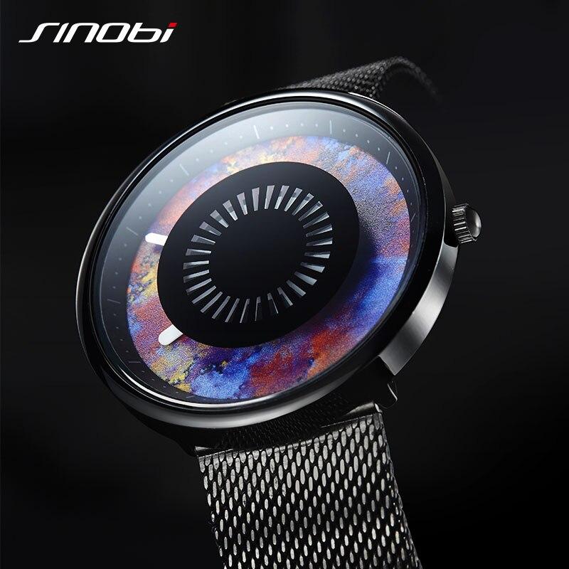 Quarz Männer Uhren Neue Kreative Marke Design Wasserdichte Sport SINOBI 3D Druck Uhr