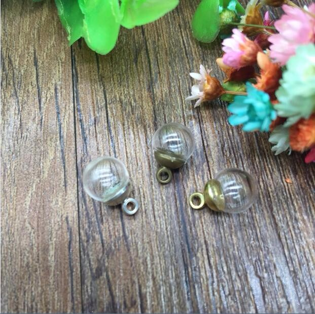 50sets 8mm glass globe with 3mm hole and 6mm silverbronzegold metal cap jewelry findings set nail art Glass bottle vial orbs