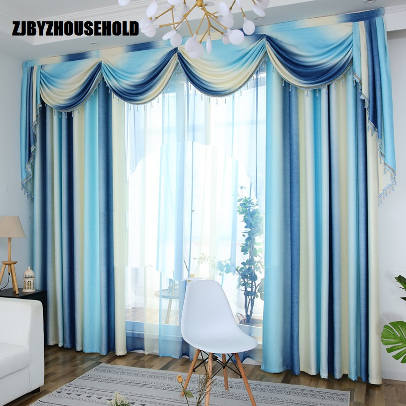Nordic Simple Curtains For Living Dining Room Bedroom Fabric Custom Mediterranean Valance Striped Curtains Window Finished