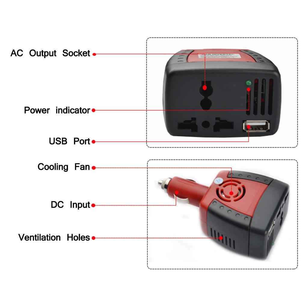 Adeeing 150W Car Power Inverter DC 12V To AC 110V USB 5V Auto Charger Adapter For Laptop Suitable for 12V Vehicles SUV,MVPr18