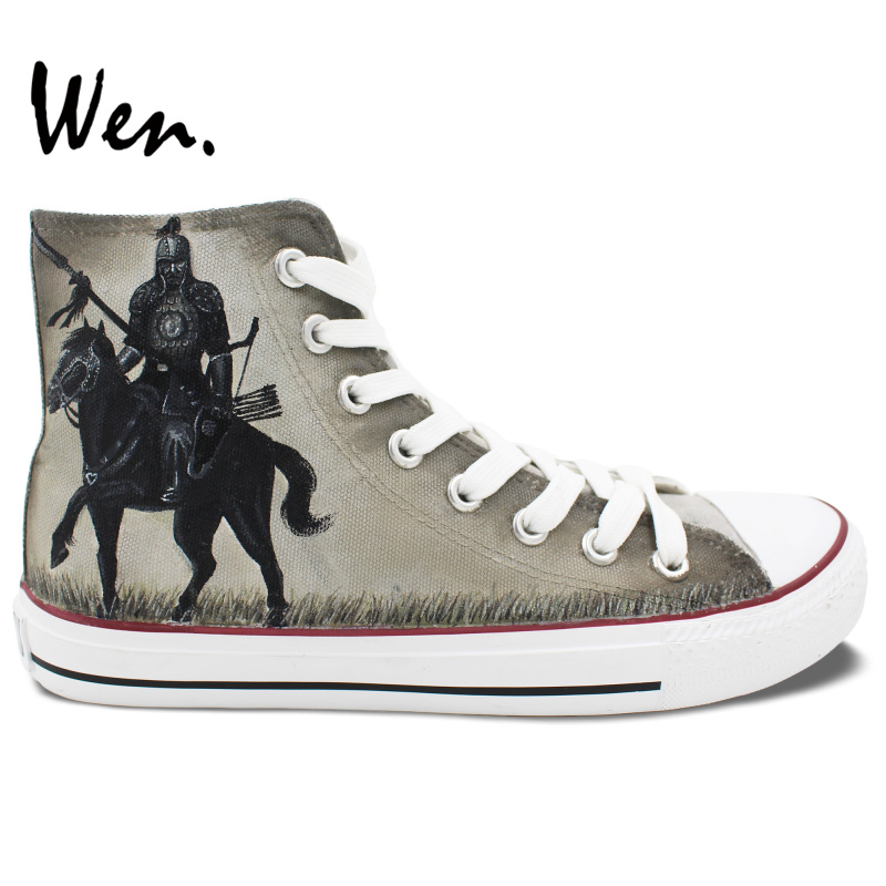 ФОТО Wen Hand Painted Canvas Sneakers Design Custom 300 Rise of an Empire Men Women's High Top Shoes for Birthday Gifts