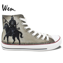 Wen Hand Painted Canvas Sneakers Design Custom 300 Rise of an Empire Men Women's High Top Shoes for Birthday Gifts