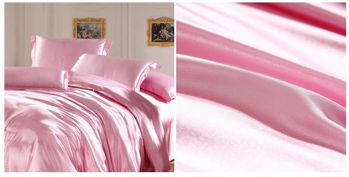 light pink bedding sets silk sheets satin california king size queen double quilt duvet cover bed