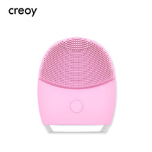 CREOY High Frequency Electric Silicone Facial Cleansing Brush Sonic Ansigt Rengøringsbørste Vask Pore Cleaner Ansigt Hudpleje Tool