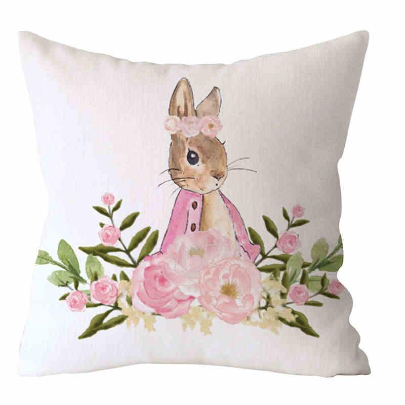 NAIYUE イースターウサギのプリント枕ケースポリエステルピーチスキンクッションカバー家の装飾天然コットンヤシの葉 19Mar4