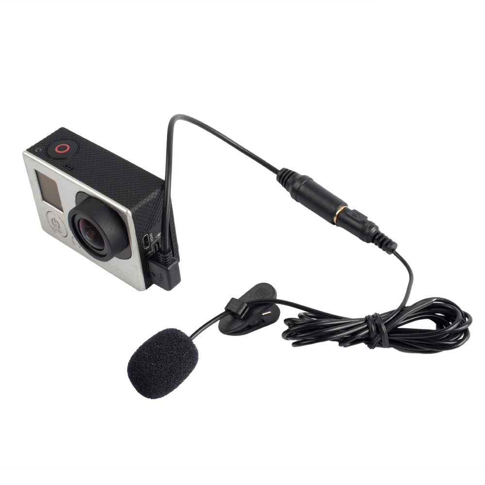 jack active clip mic microphone mini usb audio adapter cable for gopro hero 3 3 4 camera. Black Bedroom Furniture Sets. Home Design Ideas