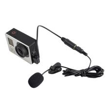 3.5mm Jack clip activo MIC micrófono audio mini USB Cable adaptador para gopro hero 3 3 + 4 Cámara Accesorios