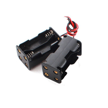 400pcs/lot MasterFire 18650 Battery Holder 6V for 4 x AA Batteries Black Plastic Storage Box Case Dual Layers With Wire Lead