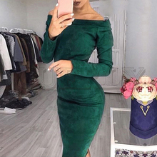 CUERLY Suede long sleeve off shoulder Women Knee-Length dress autumn winter Sexy bodycon female party club dresses plus size