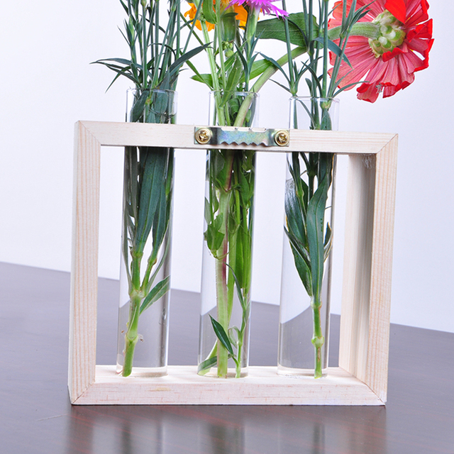 Modern Style Wall Hanging Crystal Glass Test Tube Vase In Wooden