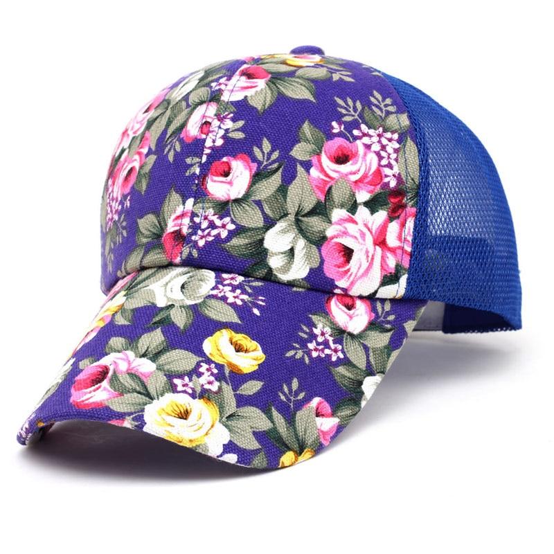 63b367da Women Printed Flower Mesh Back Baseball Trucker Cap Cute Summer Sun Caps  Curved Bill Snapback Purple Blue Hot Pink Red