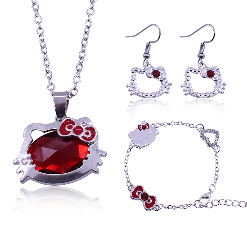 Necklace + Earring+Bracelet Hello Kitty Jewlery Sets Cute Fashion Simple Accessiones Sets For Bridesmaid Bridal Wedding Sets