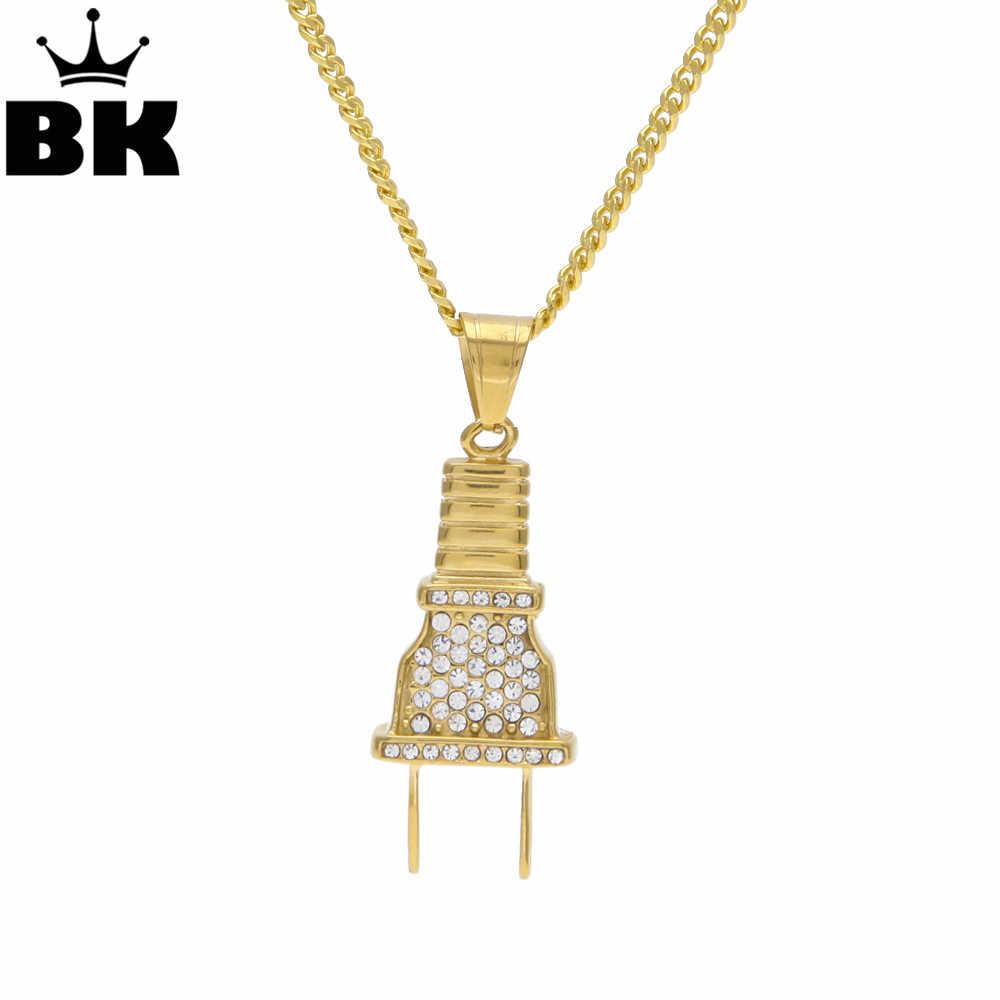 El BLING KING Gold hombres enchufe eléctrico encanto colgante collar Acero inoxidable Iced Out Rhinestone oro tono joyería regalo