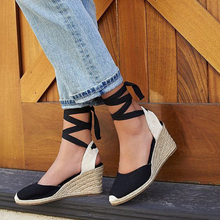 2018 New Fashion Womens Platform Pumps Sexy Summer Wedges Cross Tied High Heels Shoes Lady aa0977