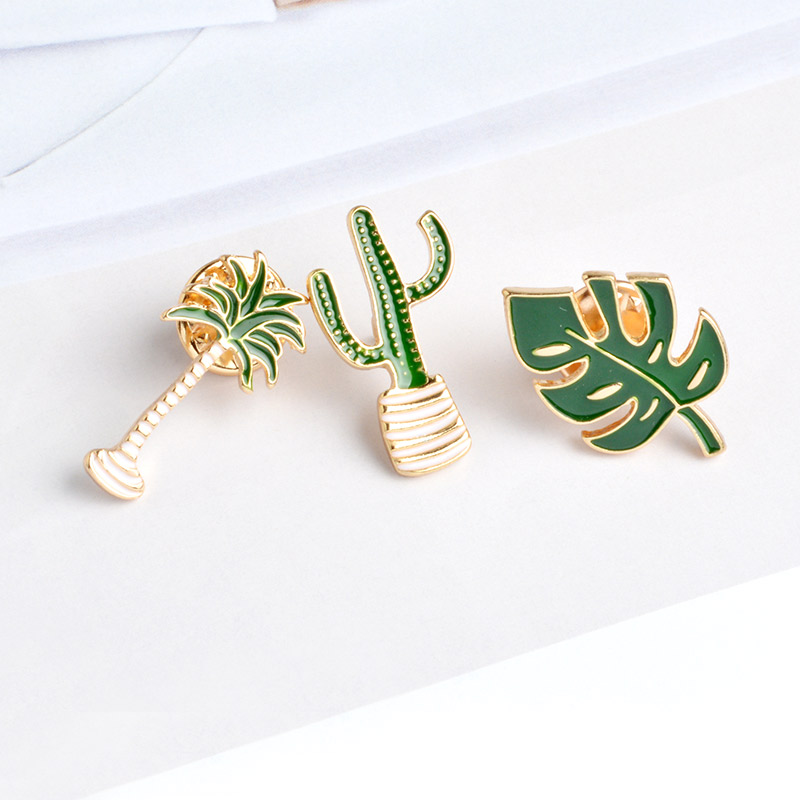 Simple Cartoon Green Plant Coconut Tree Mexican Cactus Leaf Metal Brooch Pins DIY Button Pin Denim Jacket Pin Badge Gift Jewelry