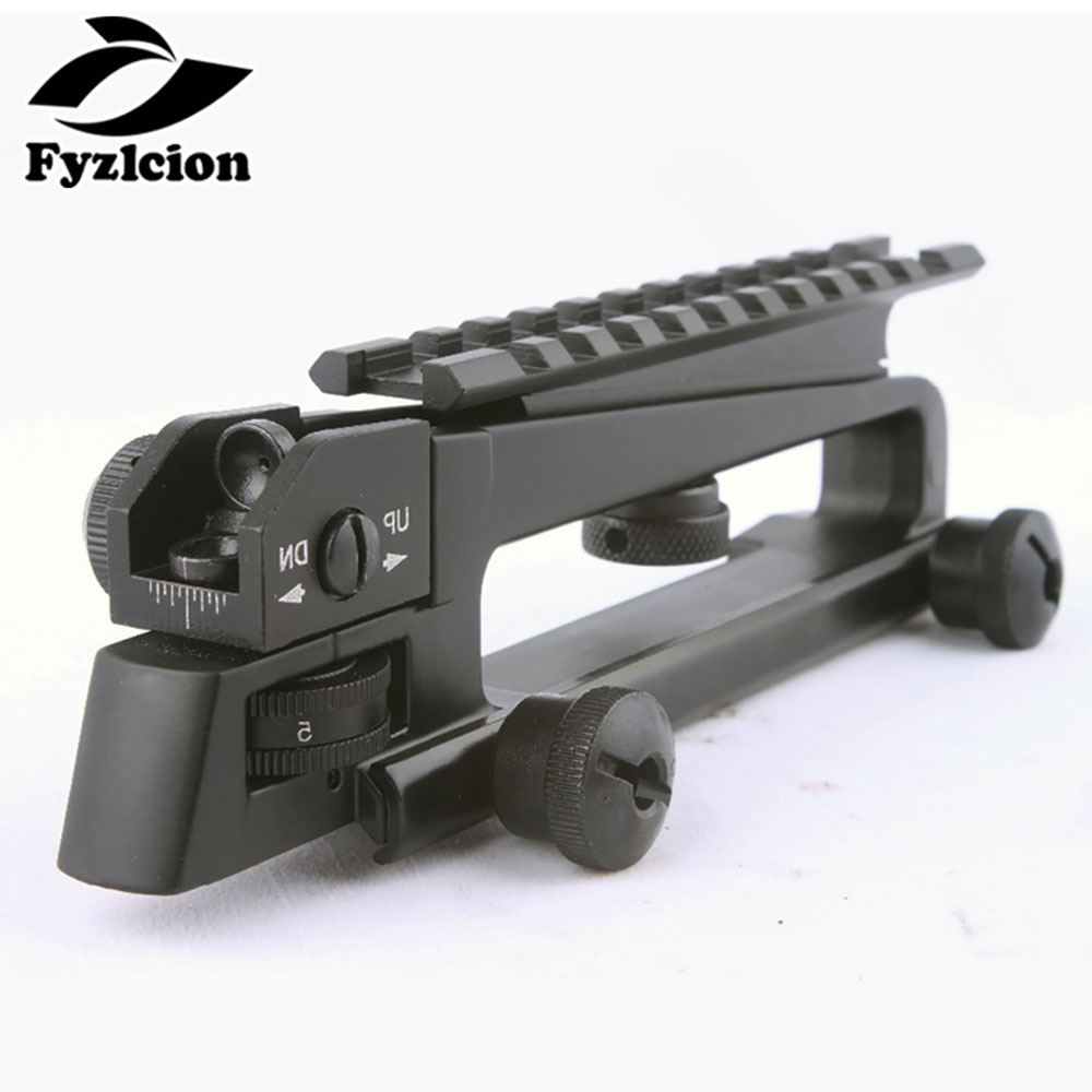 Hunting M4 M16 AR15 Detachable Carry Handle W/ Dual Aperture A2 Rear Sight See Through Picatinny Rail Mount Combo